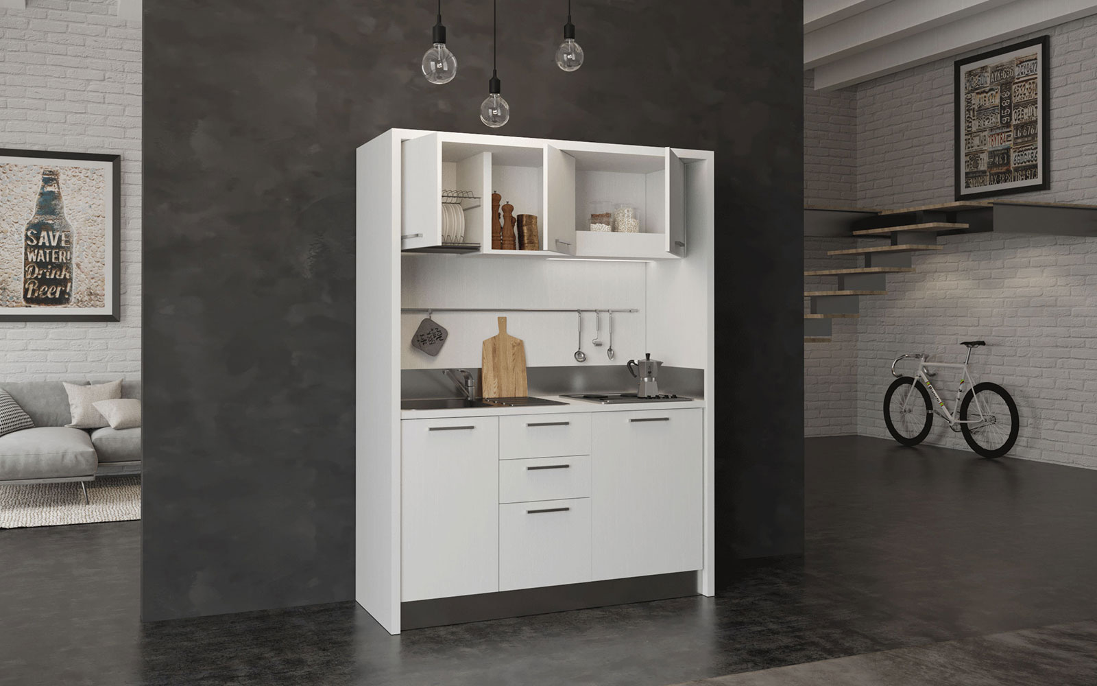 Circeo - Cucina monoblocco larga m 1,60 con elementi a vista, mini ...
