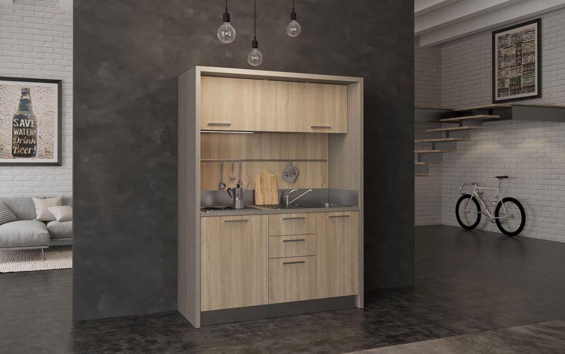Cucina monoblocco da 1 metro e 60 per case vacanza e residence
