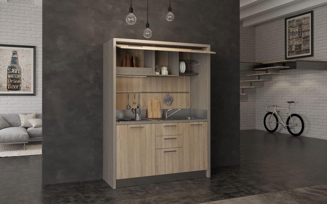 Cucina monoblocco con mini frigo e piano cottura elettrico o a gas