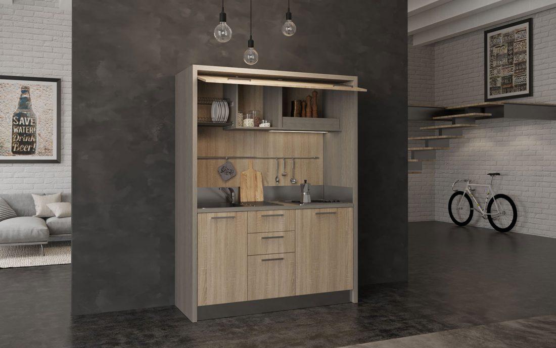 Cucina monoblocco con piano cottura a 4 piastre elettriche o induzione
