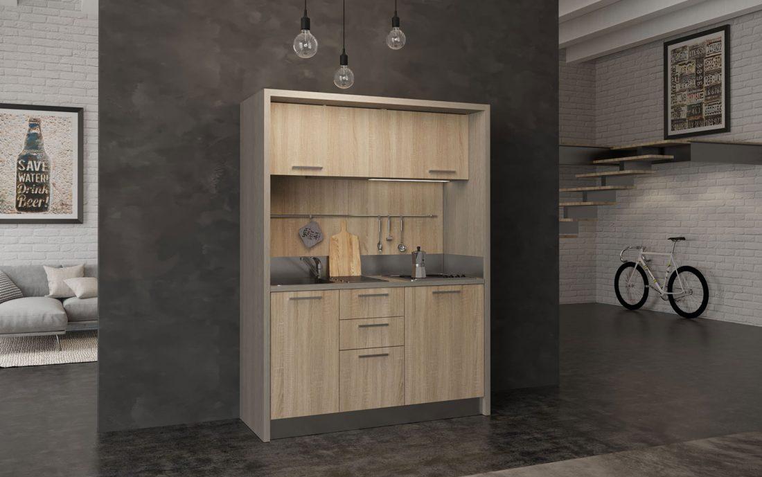 Mini cucina monoblocco con frigobar per hotel e residence