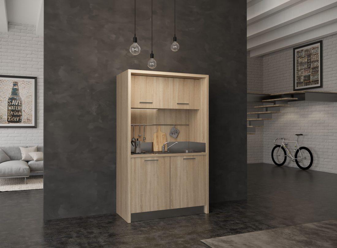 Mini cucina da 1 metro e 30 con frigo bar e fornelli per residence