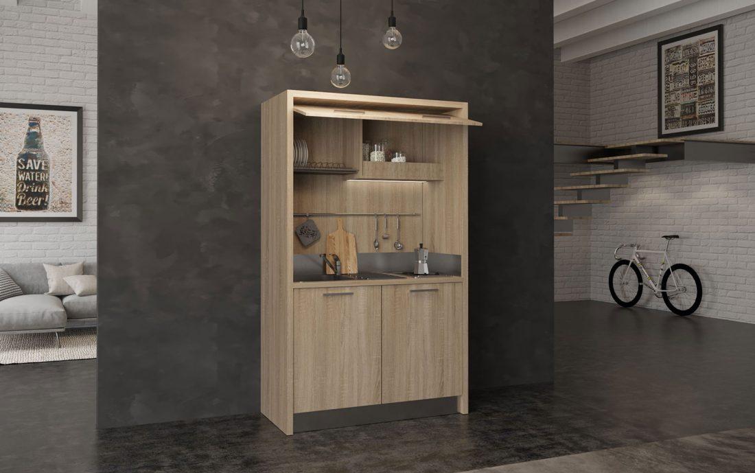 Mini cucina angolo cottura monobloco da 130 centimetri per hotel