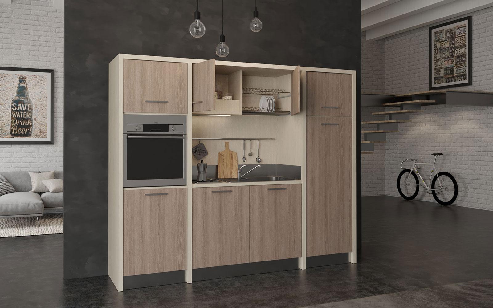 Langhe Cucina Monoblocco A Vista Larga 255cm Con Piano 2 Fuochi Frigorifero Alto Forno E Lavastoviglie