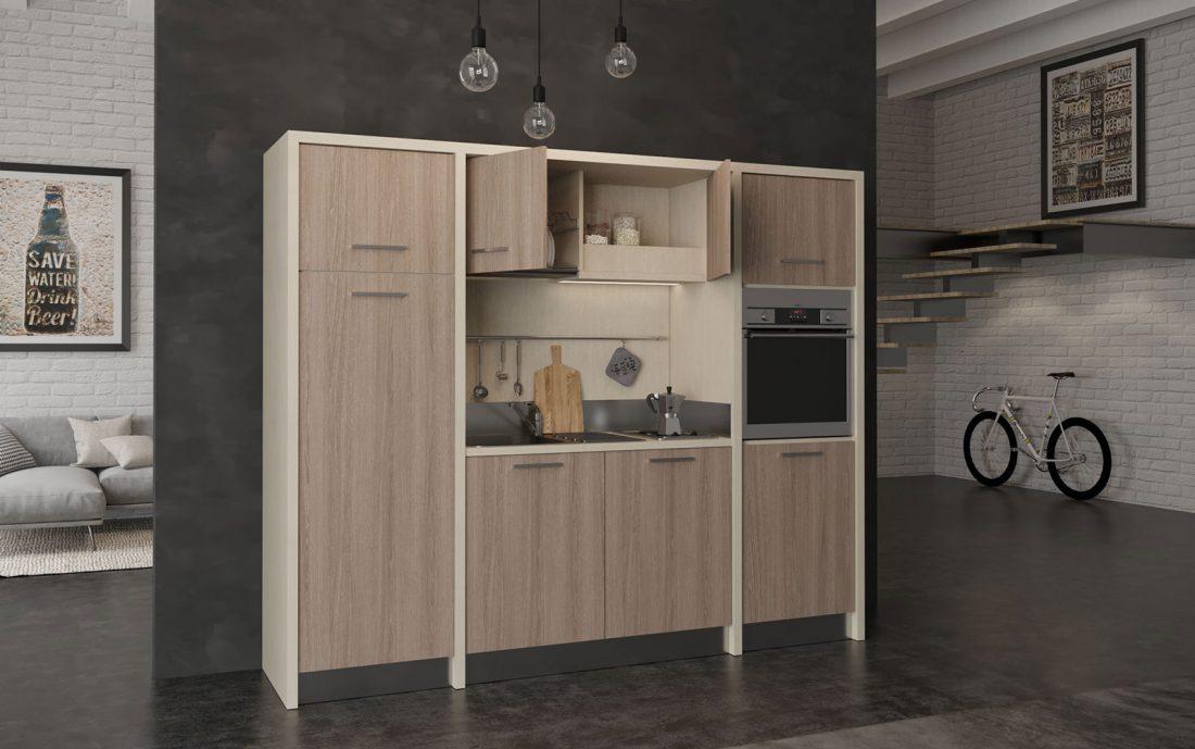 Langhe è una cucina monoblocco completa di forno elettrico e lavastoviglie