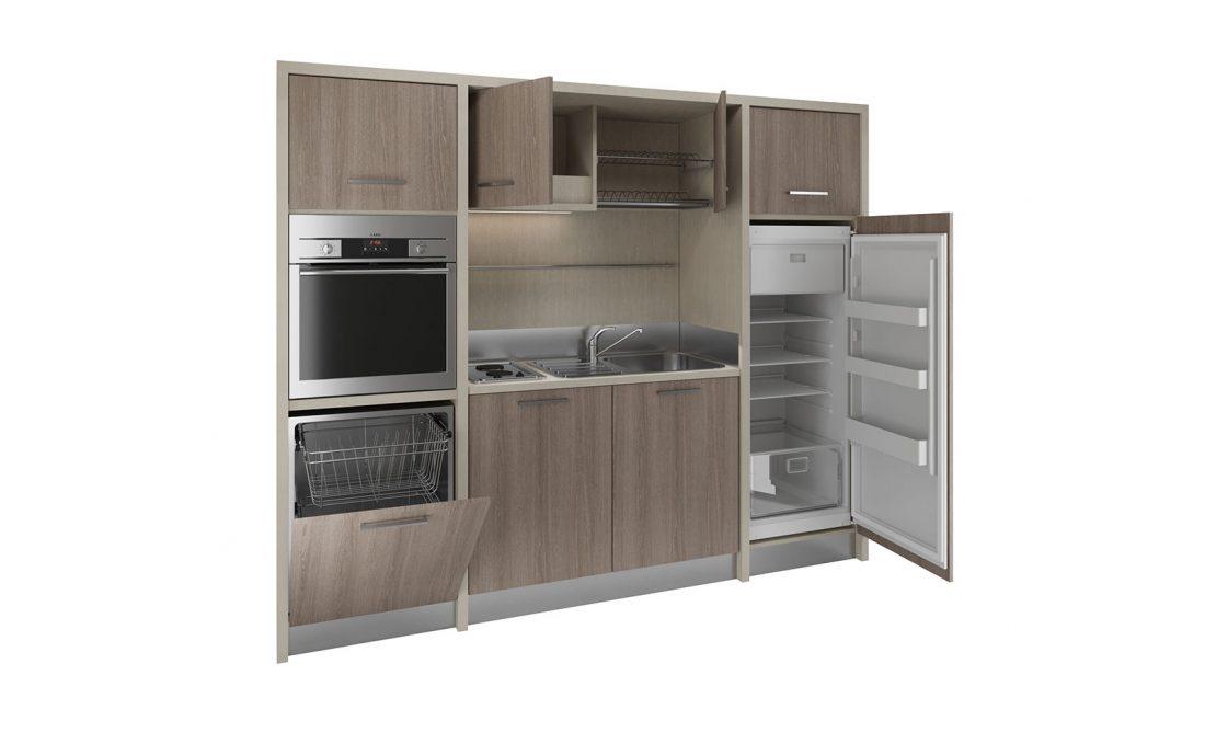 Langhe è una cucina monoblocco accessoriata per monocamere e hotel
