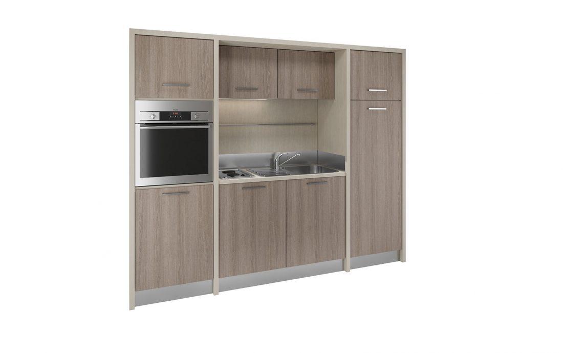 Cucina monoblocco solida e moderna per strutture alberghiere