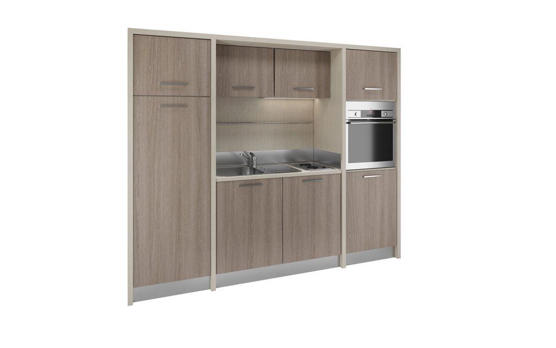 Langhe è un armadio cucina con piano cottura elettrico per alberghi e residence