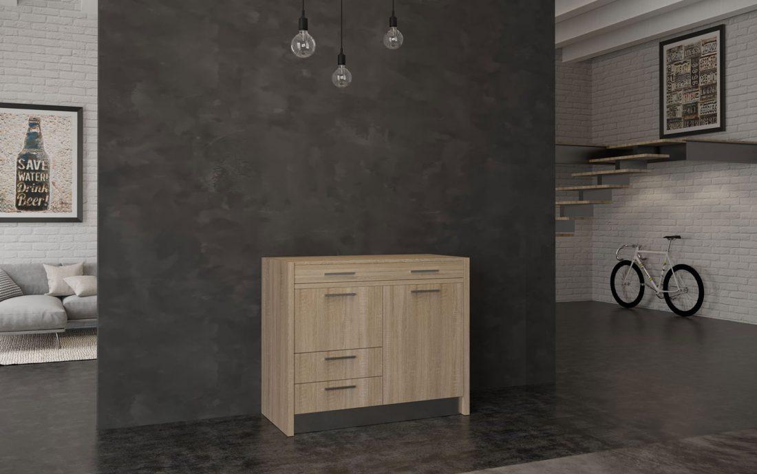 Mini cucina bassa nascosta in consolle adatta a spazi esterni e interni