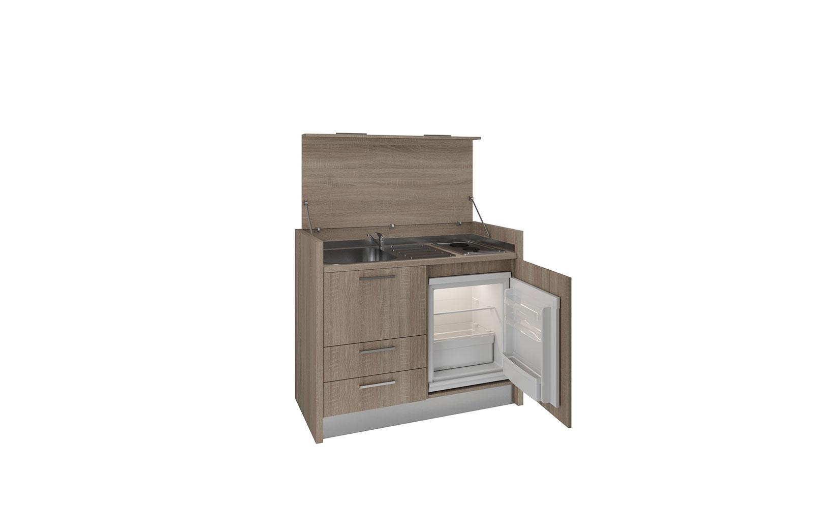 Marsica - Mini cucina isola a scomparsa, piano 2 fuochi, frigo e ...