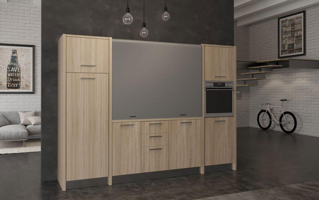 Metaponto è una cucina elegante monoblocco con chiusura a serranda