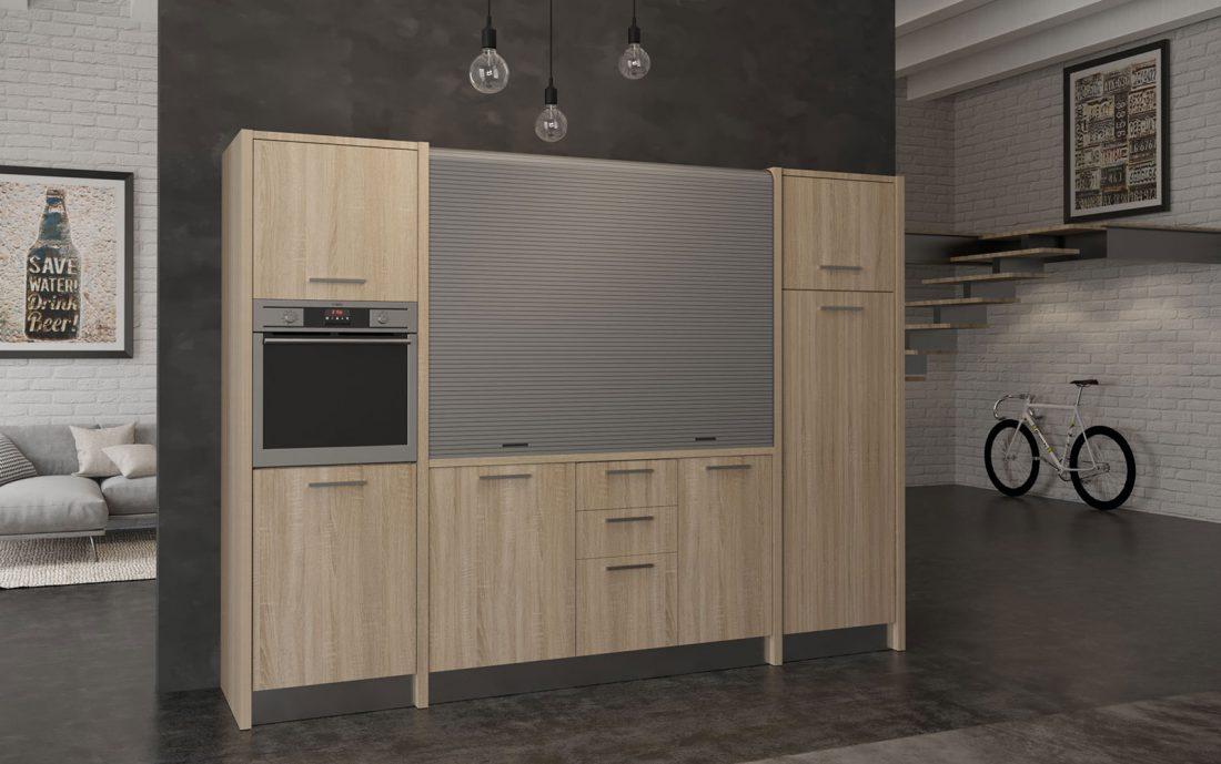 Grande e moderna cucina a scomparsa monoblocco completa di tutto