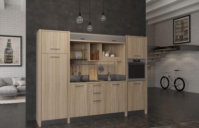 La cucina a scomparsa monoblocco Metaponto è completa di tutti gli elettrodomestici
