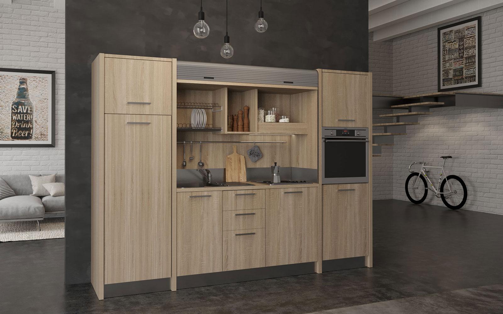 Cucina a scomparsa monoblocco con serranda