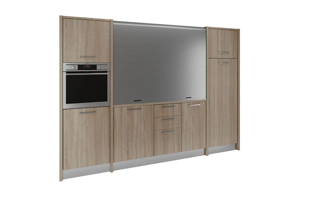 Cucina monoblocco con piano a scomparsa con serranda completa di forno e lavastoviglie