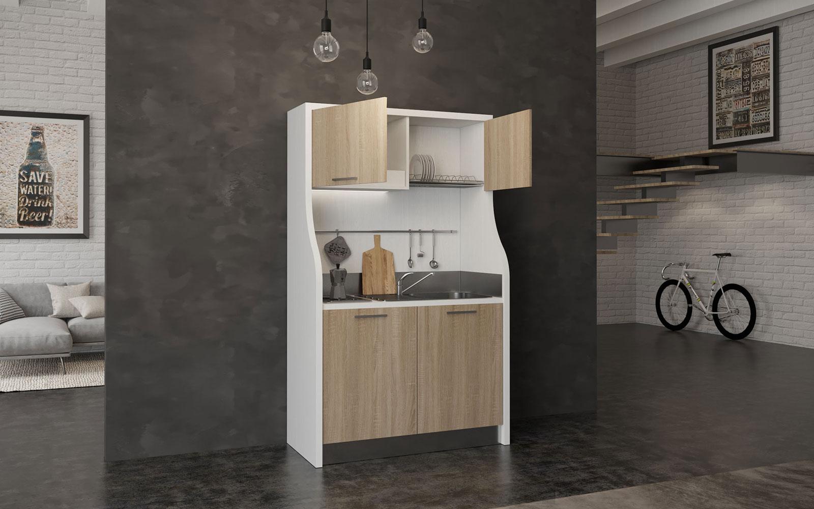 Mini cucina monoblocco 130cm retrò rustica con 2 fuochi e frigo