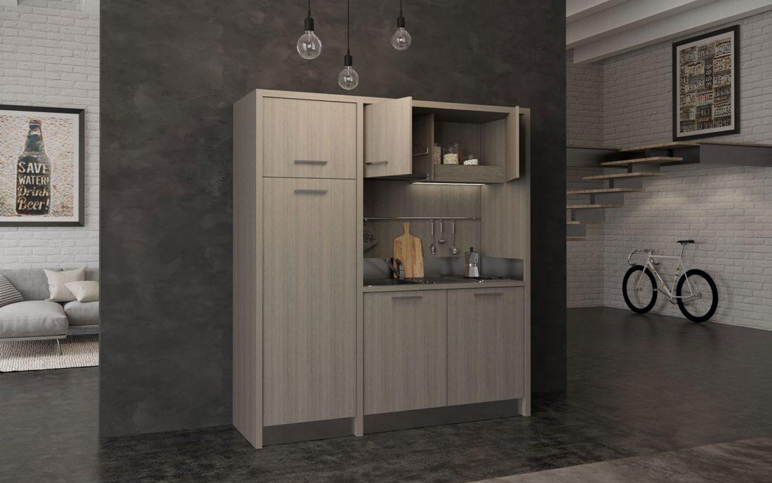 Mugello è una cucina monoblocco completa da 2 metri con grande frigo