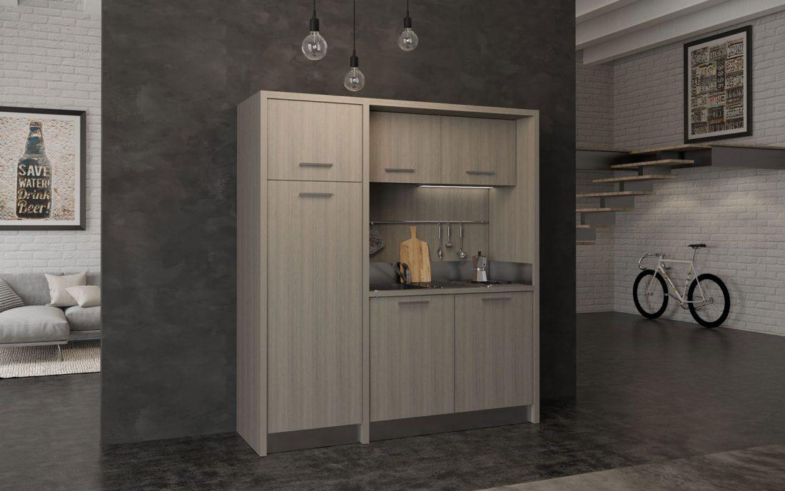 Mugello è una grande cucina monoblocco da 190cm con frigo congelatore