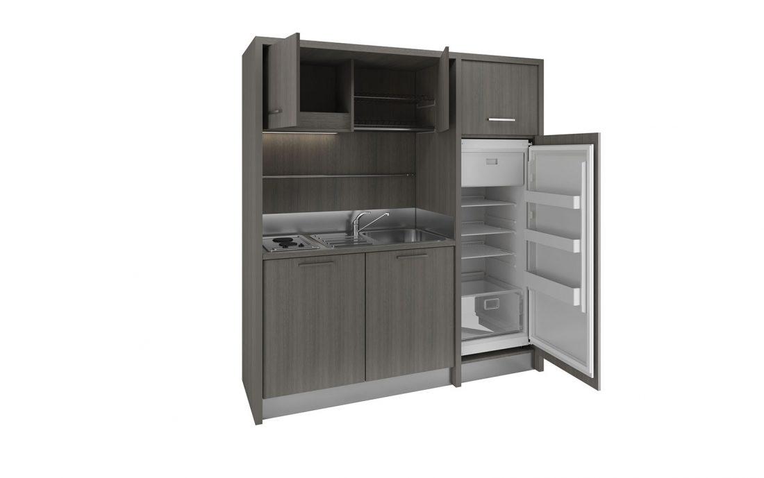 Mugello - Piccola cucina monoblocco in stile moderno con frigo grande