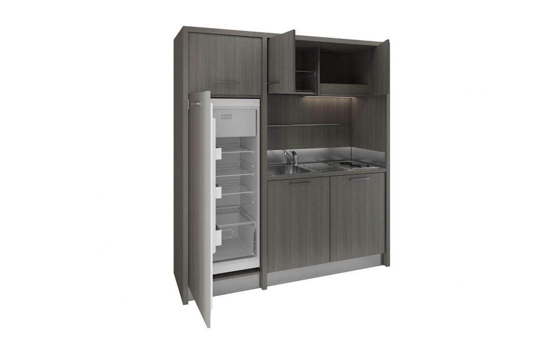 Cucina armadio monoblocco moderna con frigo a colonna alto