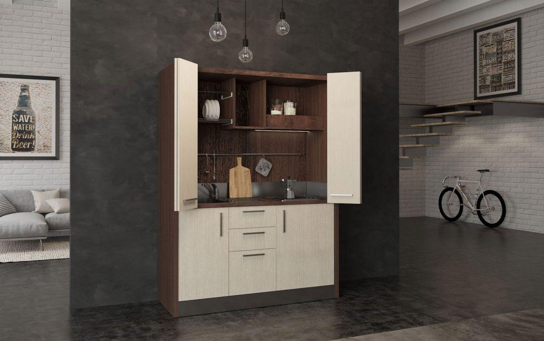 Cucina a scomparsa completa con fornelli elettrici o piano a induzione