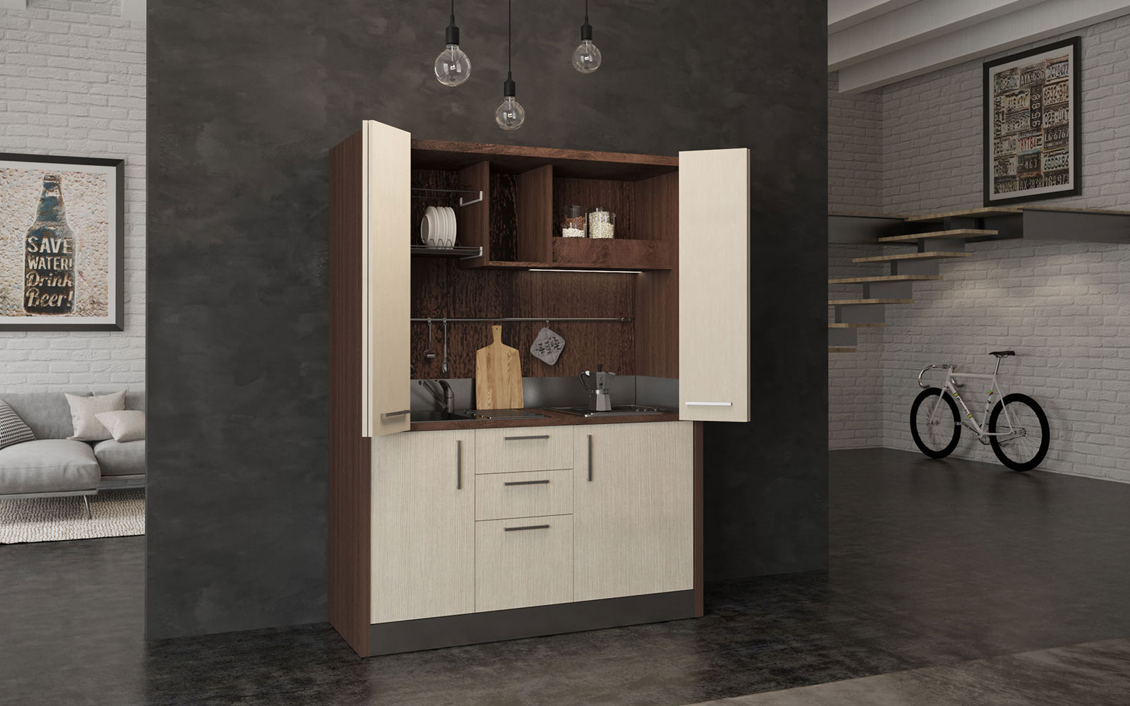 Oltrepo - Mini cucina a scomparsa in armadio ad ante da ...