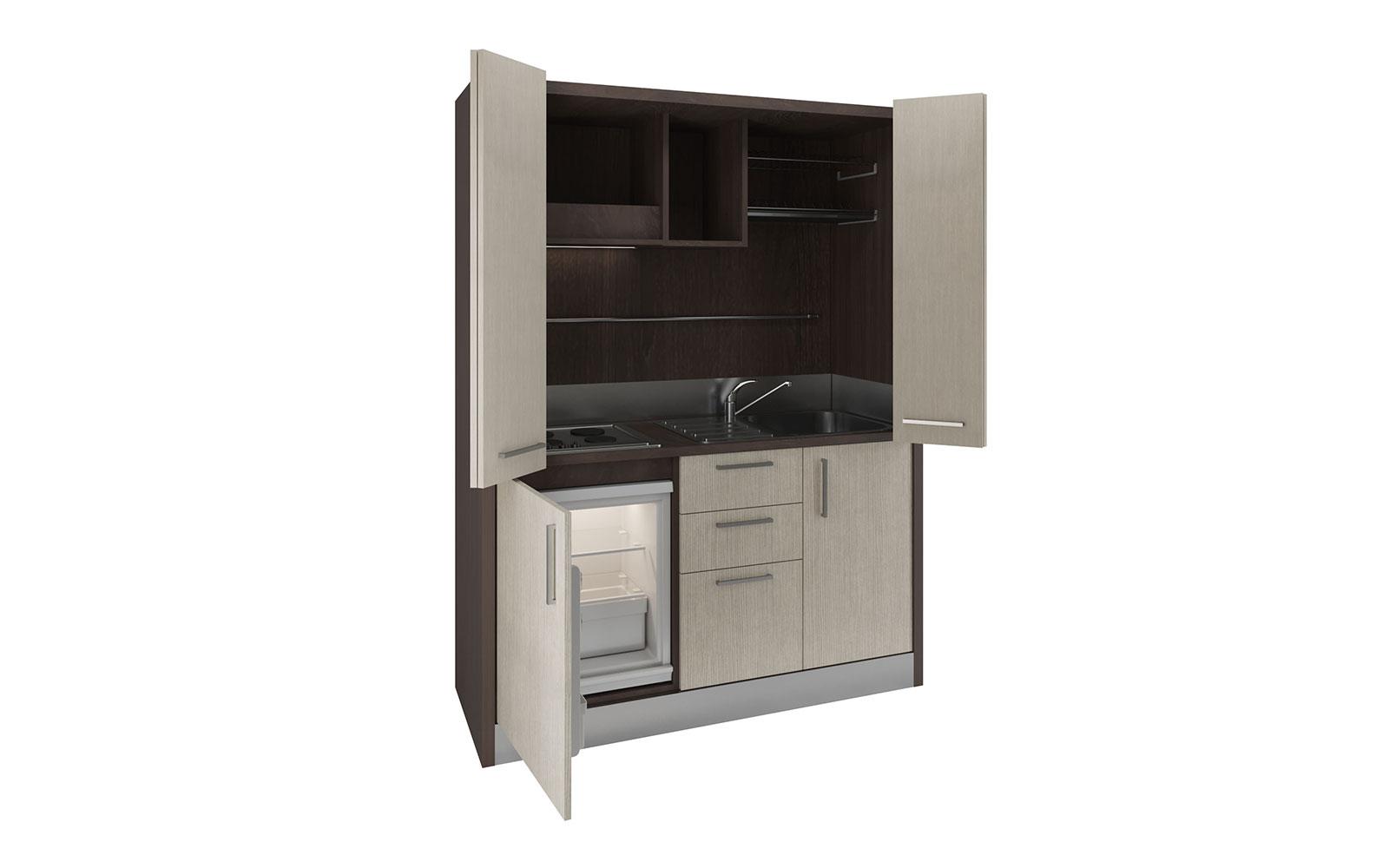 Oltrepo - Mini cucina a scomparsa in armadio ad ante da 158cm con ...