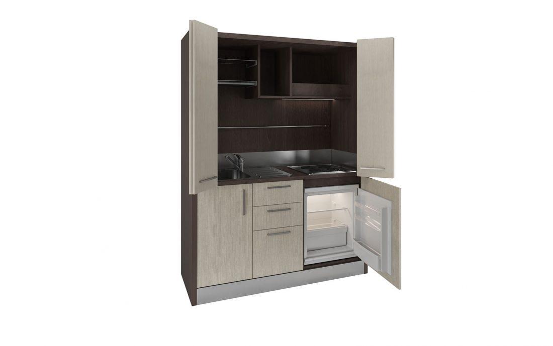 Una mini cucina armadio con ante a libro per nascondere i fornelli