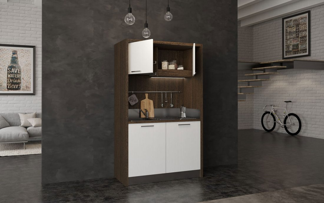 Sabina è una cucina monoblocco adatta a installazione in depandance e residence
