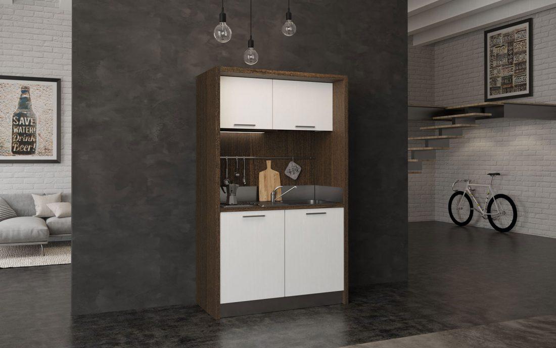 Sabina è una mini cucina compatta con frigo bar ideale per residence