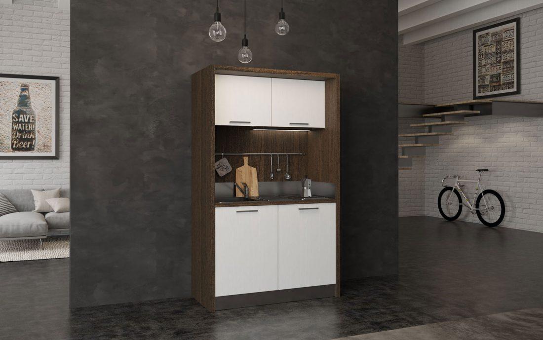 Sabina è una mini cucina monoblocco che sta in 1 metro e 30 centimetri