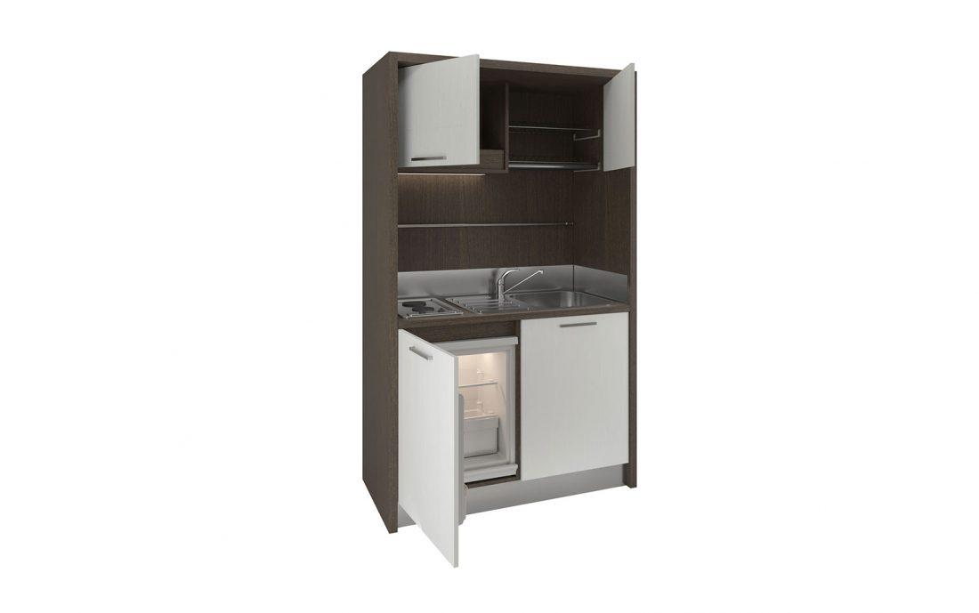 Mobile cucina monoblocco con frigo basso e 2 piastre induzione