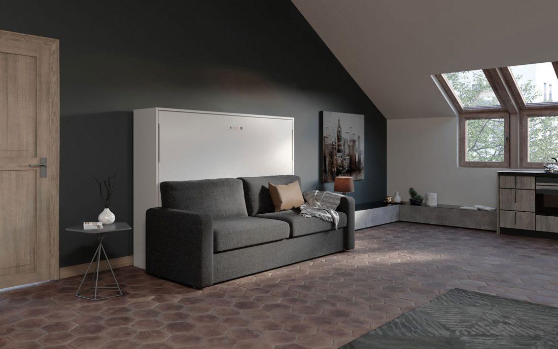 Letto 2 piazze francese a parete con comodo divano 4 posti
