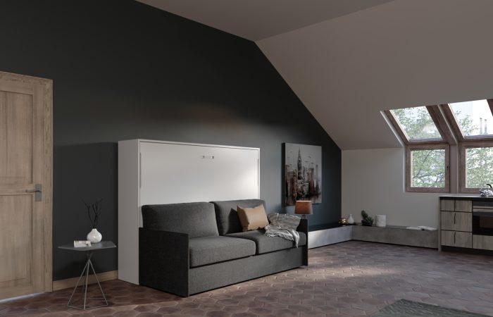 Letto 2 piazze francese a ribalta con divano grande 4 posti