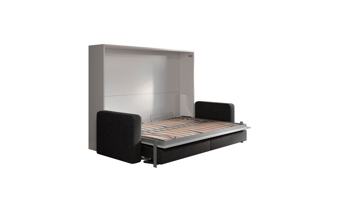 Letto a parete 2 piazze con divano automatico e reti a doghe leggere