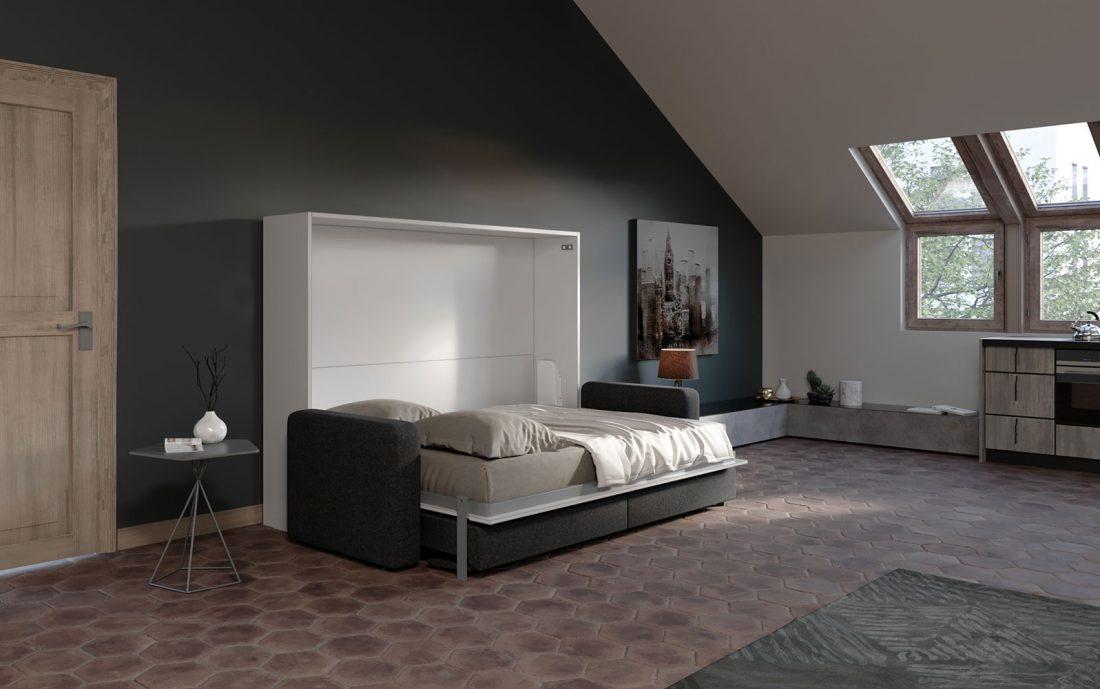 Letto a parete 2 piazze francese con divano movimento automatico