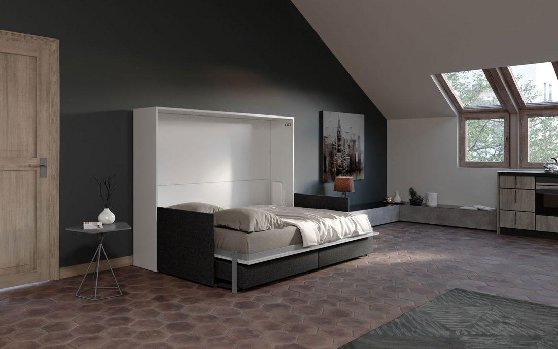 Letto a ribalta 2 piazze francese con divano per monolocale e mansarda