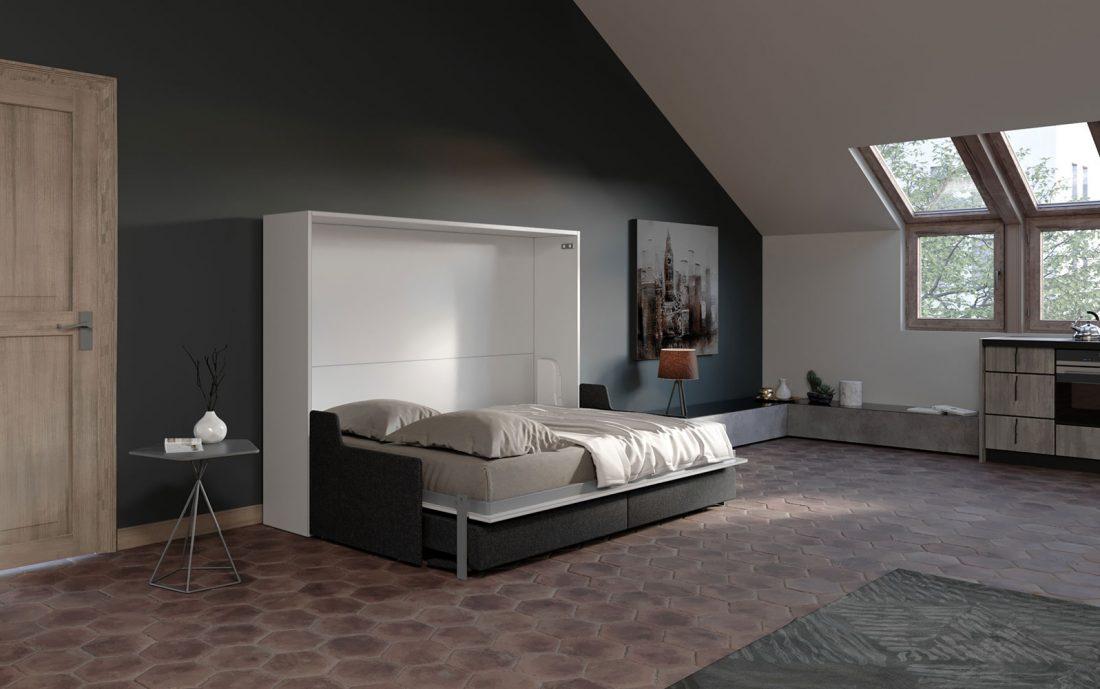 Letto apribile 2 piazze francese con divano 4 posti automatico