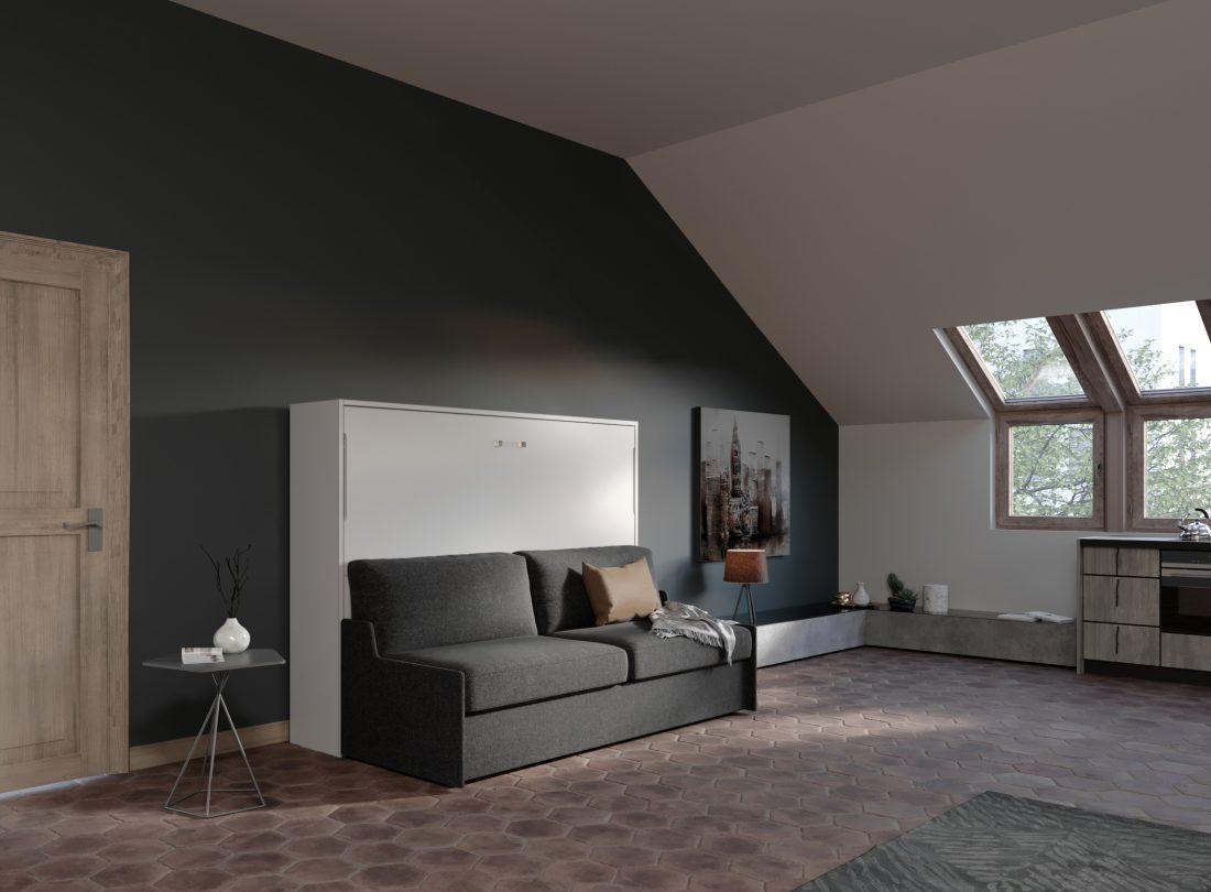 Letto francese apribile 2 piazze con divano salvaspazio