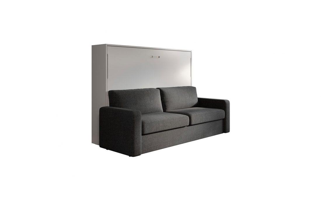 Letto matrimoniale francese a parete con divano 4 posti automatico e braccioli imbottiti