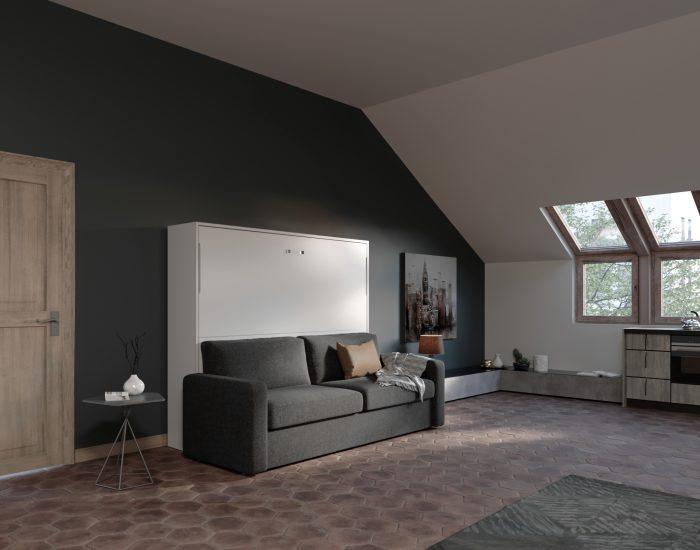 Soffio sofa 160 letto matrimoniale a scomparsa orizzontale - Letto matrimoniale a scomparsa con divano ...