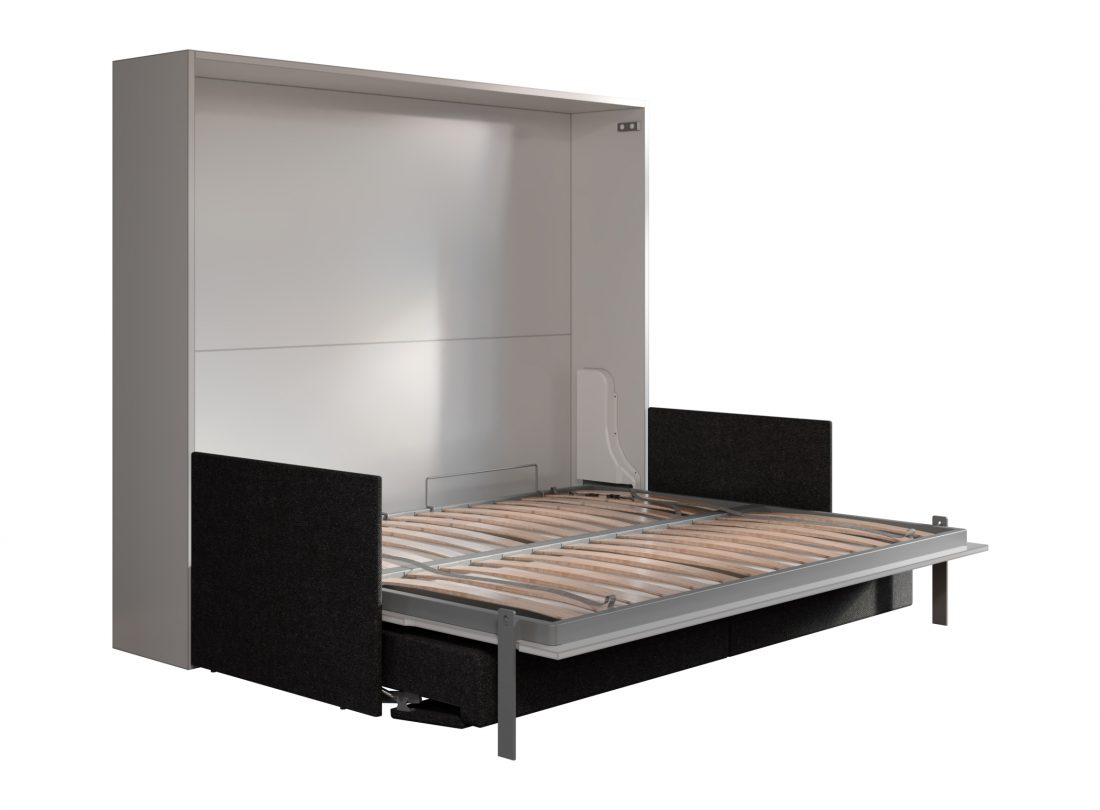 Letto matrimoniale ribaltabile con divano automatico per camere con soffitto basso