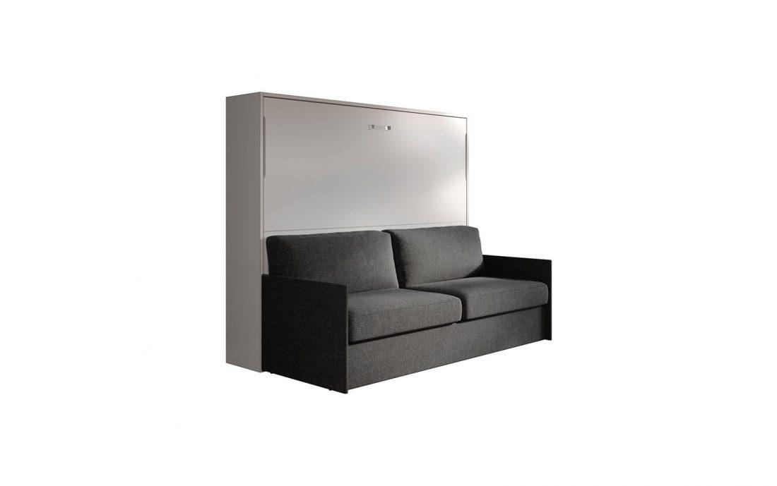 Letto ribaltabile matrimoniale con divano salva spazio a movimento facilitato automatico