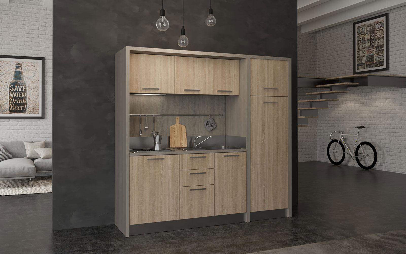 Valdarno - Cucina monoblocco a vista 222cm con grande frigo e piano ...