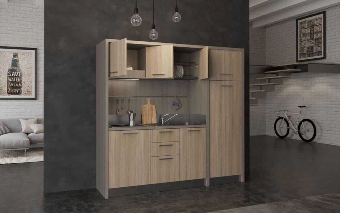 Valdarno è una cucina monoblocco da 220 centimetri per residence