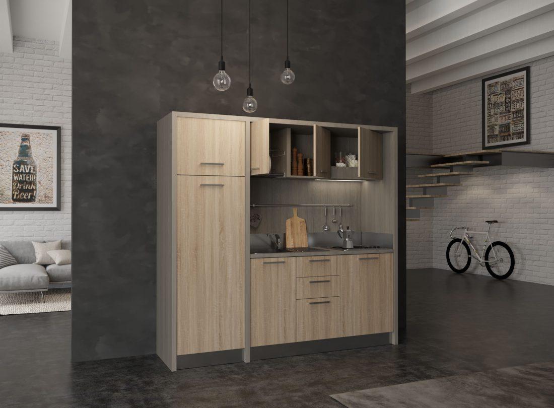 Valdarno è una grande cucina monoblocco completa in soli 2 metri e 20 centimetri