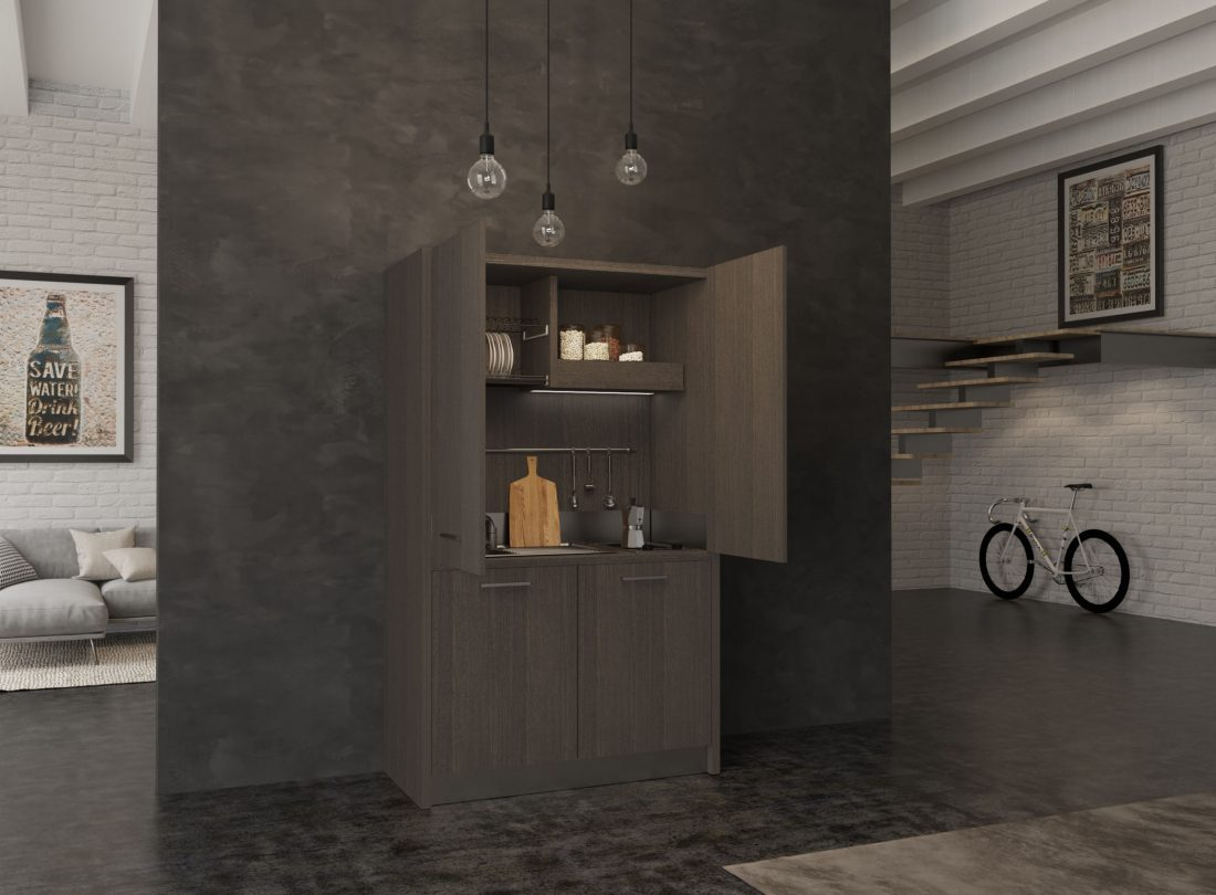 Cucina a scomparsa nascosta con ante tipo armadio