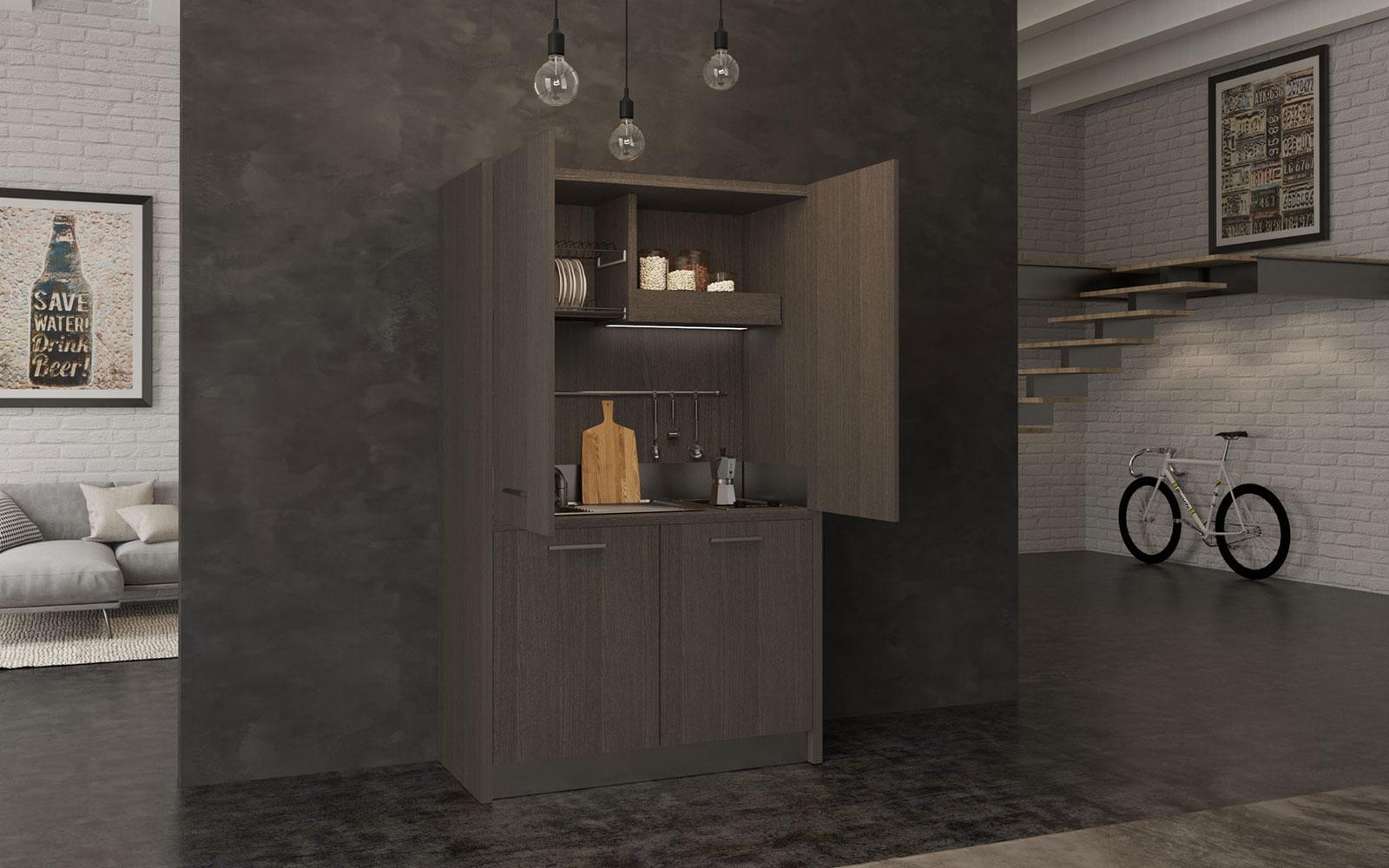 Valdobbiadene - Cucina monoblocco a scomparsa con ante 128cm con ...