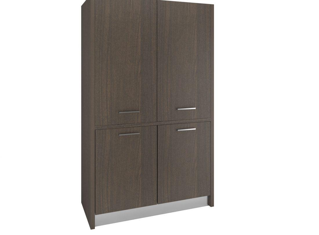 Un armadio che contiene una cucina completa con frogo e fornelli