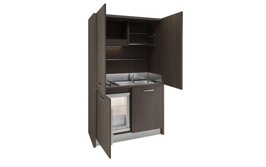 Una cucina a scomparsa nascosta dentro un armadio per uffici e studi professionali
